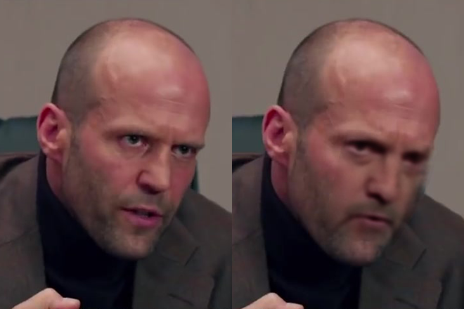 Jim Cramer's face on Jason Statham