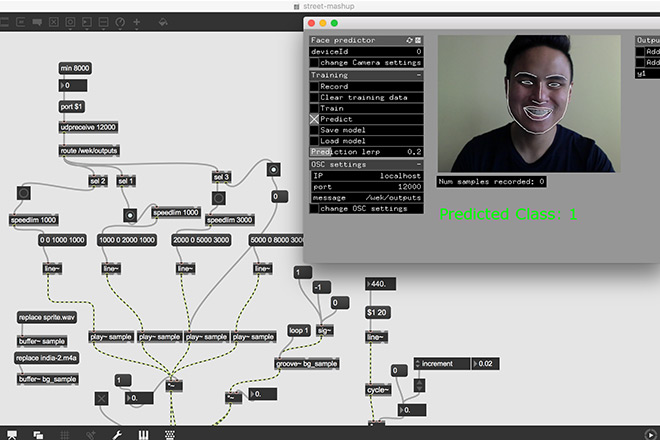 Screen capture of MaxMSP with FacePredictor trigger